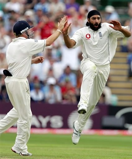 Panesar celebrates after taking a wicket