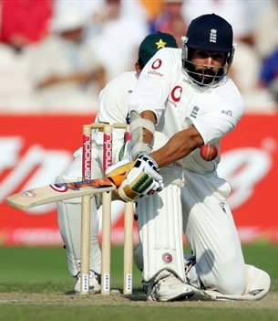 Panesar plays a shot