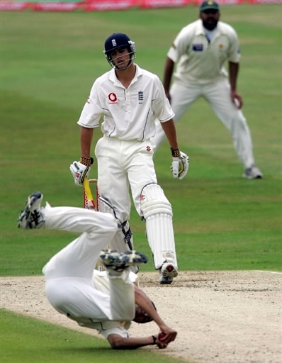 Alastair Cook is caught and bowled by Umar Gul