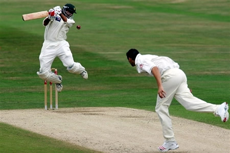 Younis Khan receives a bouncer from Steve Harmison
