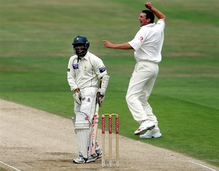 Steve Harmsion celebrates the wicket of Mohammad Yousuf