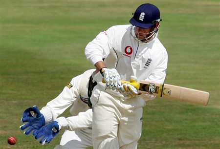 Marcus Trescothick works away the ball down the leg side