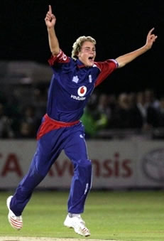 Broad celebrates the wicket of Shoaib Malik