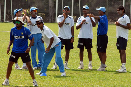 Indian team during the practice session