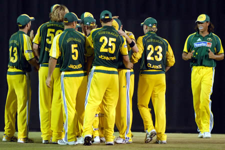 Australia team celebrate after taking a wicket