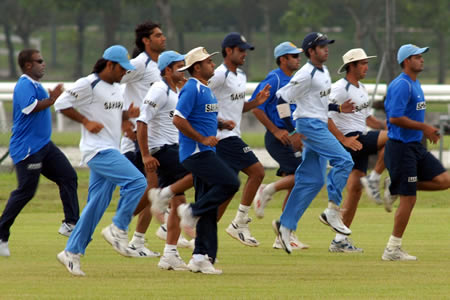 Indian team warming up during practice session