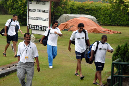 Indian players walks back after practice session