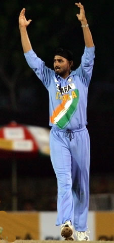 Harbhajan celebrates after taking a wicket