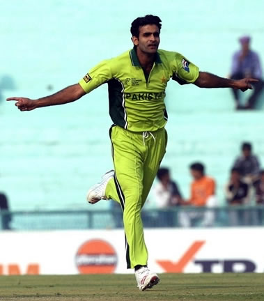 Iftikhar Anjum celebrates after taking a wicket