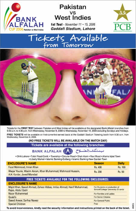 PCB advertisement for Lahore Test, tickets