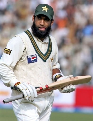 Mohammad Yousuf walks back to the pavilion