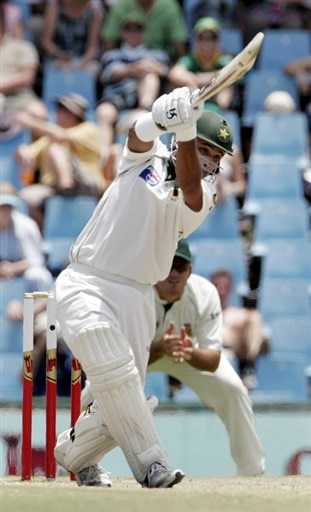 Imran Farhat plays a cover drive