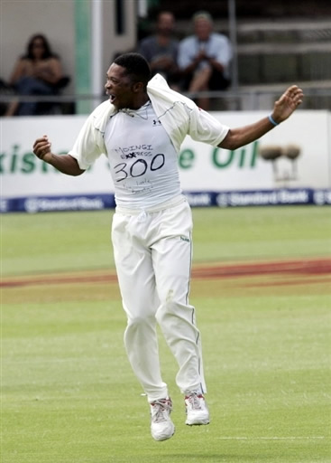 Ntini celebrates his 300 Test wickets