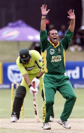 Andrew Hall celebrates the wicket of Inzamam