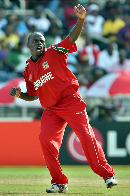 Mupariwa celebrates the wicket of Sarwan