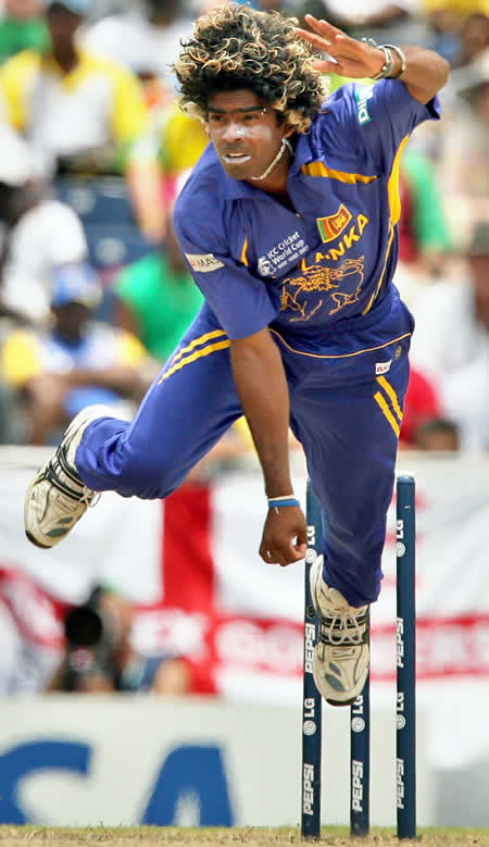 Lasith Malinga delivers a ball