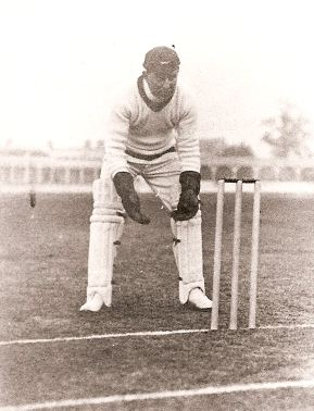 John Shields demonstates his wicket-keeping stance
