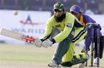 Mohammad Yousuf plays a sweep shot