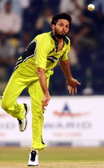 Shahid Afridi delivers a ball