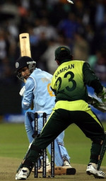 Irfan Pathan is bowled by Shahid Afridi