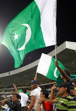 Pakistani fans cheer at the Twenty20 world championship