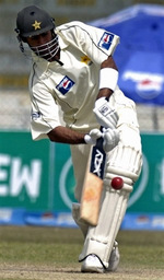 Shoaib Malik plays an on-drive
