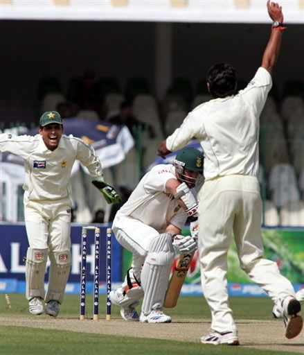 Graeme Smith is bowled by Danish Kaneria