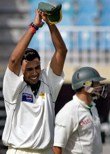 Danish Kaneria reacts after taking the wicket of Mark Boucher