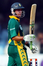 Herschelle Gibbs celebrates his fifty