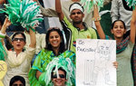 Pakistan fans cheer for their team