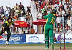 Makhaya Ntini is bowled by Umar Gul