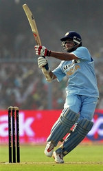 Saurav Ganguly plays a pull shot