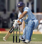 Dhoni plays a shot