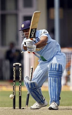 Mahendra Singh Dhoni is bowled by Shoaib Akhtar
