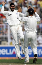 Harbhajan Singh celebrates the wicket of Mohammad Yousuf