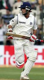 Saurav Ganguly takes a run