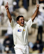 Yasir Arafat celebrates his frist 5-wicket haul on his debut