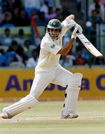Misbah-ul-Haq plays a cover drive