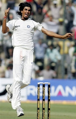 Ishant Sharma celebrates the wicket of Danish Kaneria