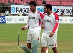 Ganguly and Sehwag during Practice