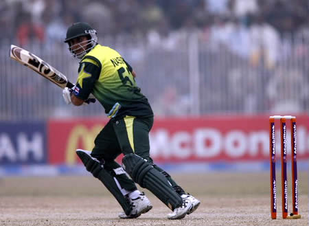 Nasir Jamshed plays a shot