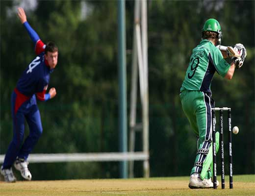 Ireland batsman Ben Ackland attempts to play the ball