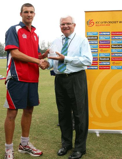 Steven Finn Receiving Man of the Match Award