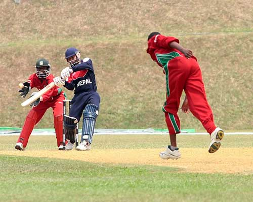 Puspa Thapa in action against Zimbabwe