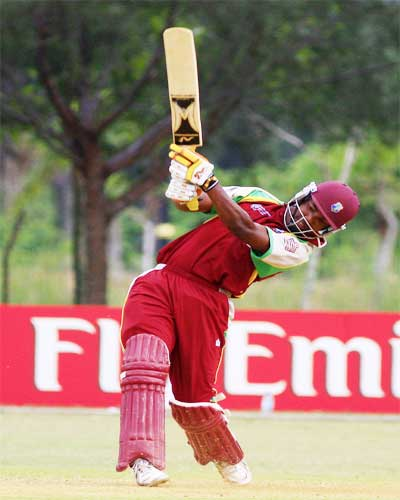 Darren Bravo in action against Nepal in the Plate final