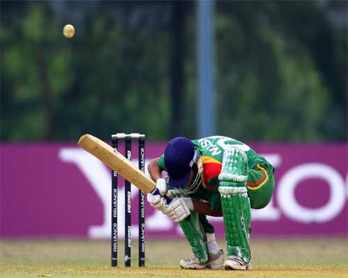 Nasir Hossain ducks against Australia