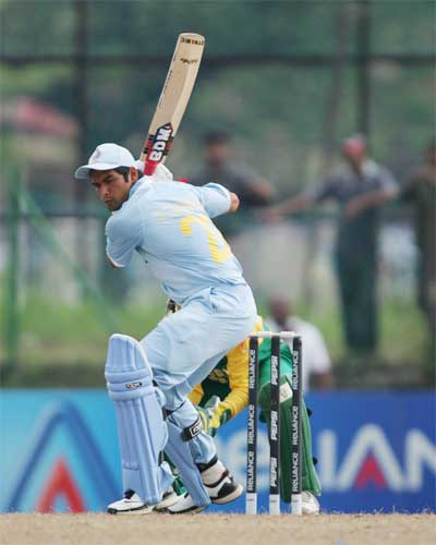 P Sangwan in action against South Africa