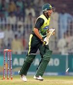 Younis Khan is bowled by Farhad Reza