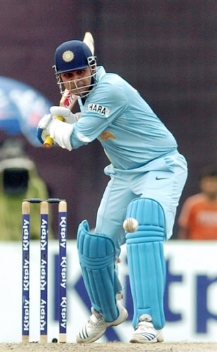 Virender Sehwag about to play a shot