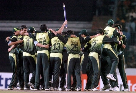 Pakistan team celebrates after winning the Kitply Cup final